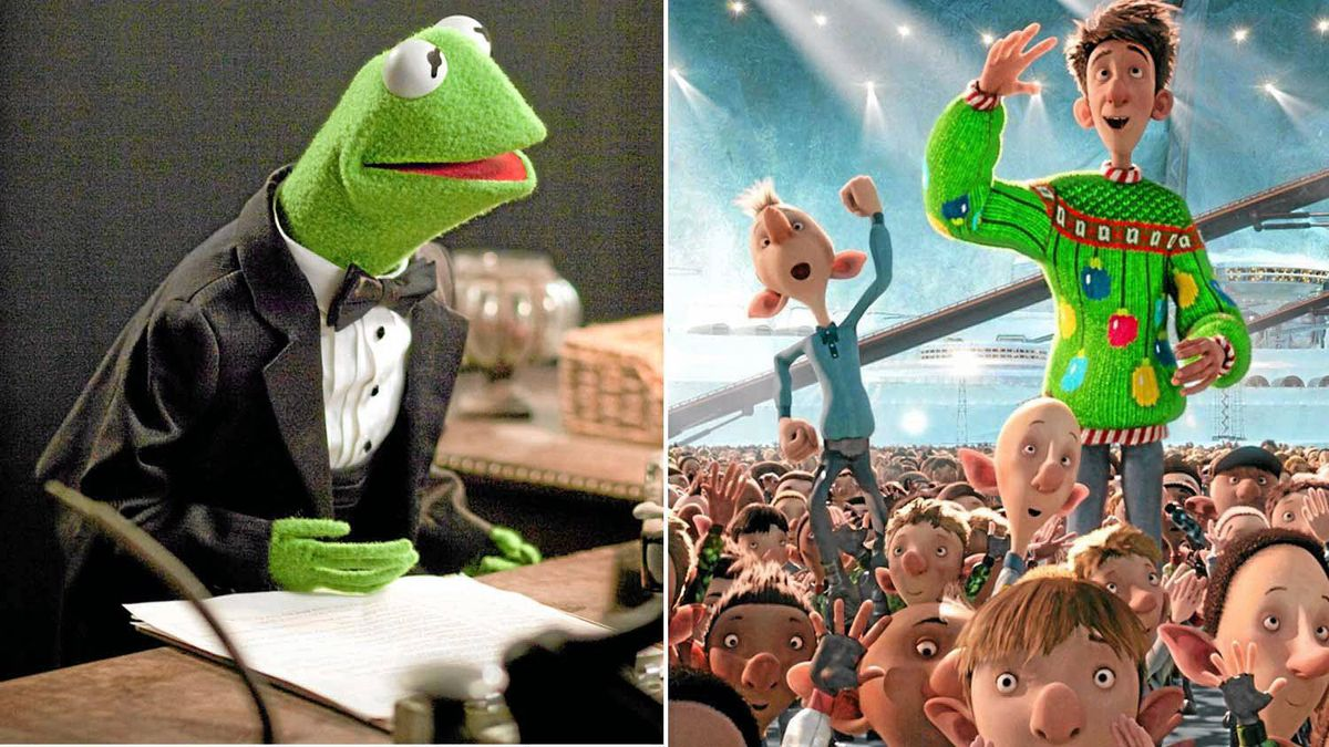 """A scene from """"The Muppets"""" (left) and """"Arthur Christmas"""" (right)"""