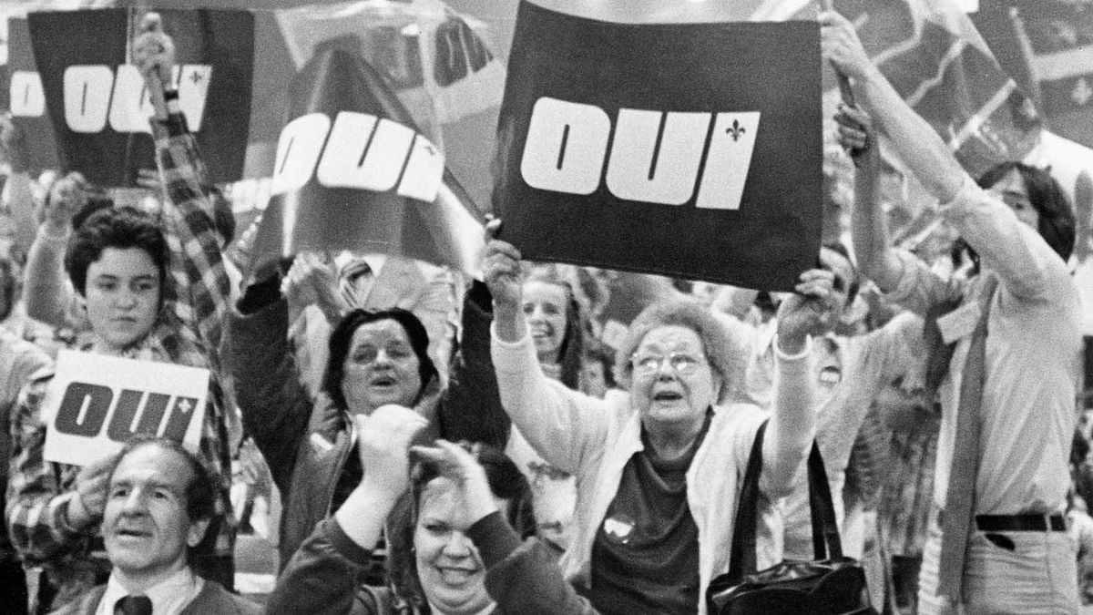 A pro-separation rally during the 1980 Quebec referendum: What prominent French-speaking Quebec politician will speak for the No side if there is ever another referendum?