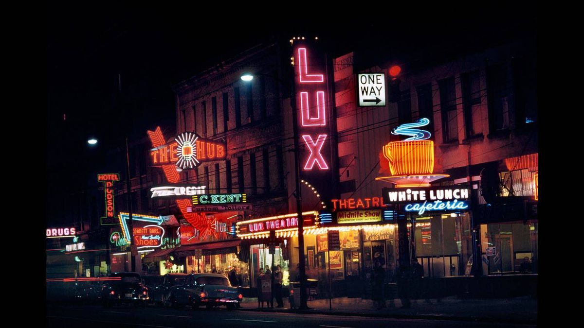 Fred Herzog, The Hub, 1958, inkjet print, Collection of the artist, Courtesy of Equinox Gallery