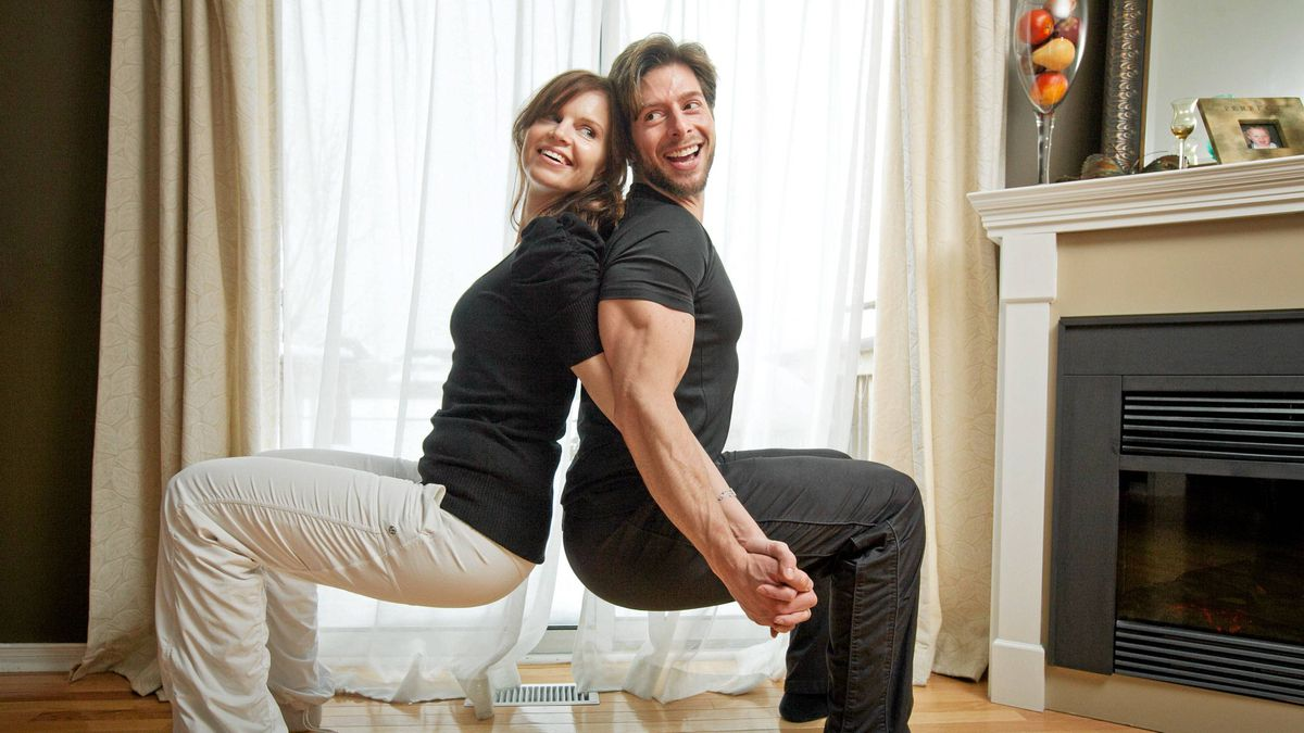 Edna Melculj and Peter Pereira demonstrate the back-to-back squat from their Fit2touch program.