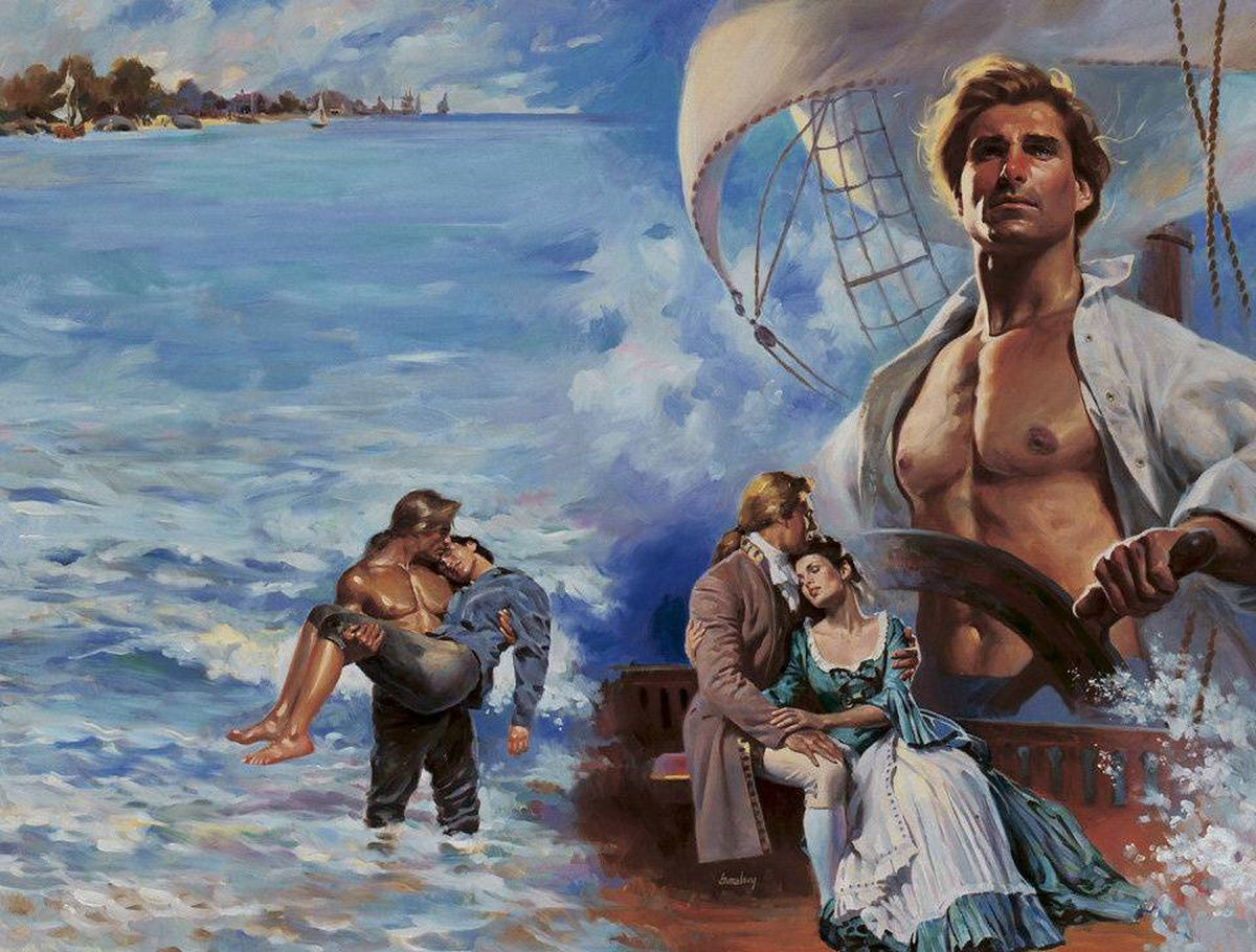 A manly nautical montage from the Harlequin cover exhibition.