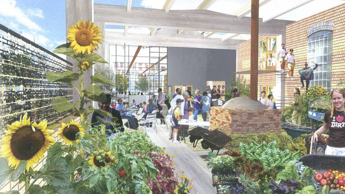 Design concept for The Stop, Artscape Wychwood Barns, sheltered garden and community bake oven.