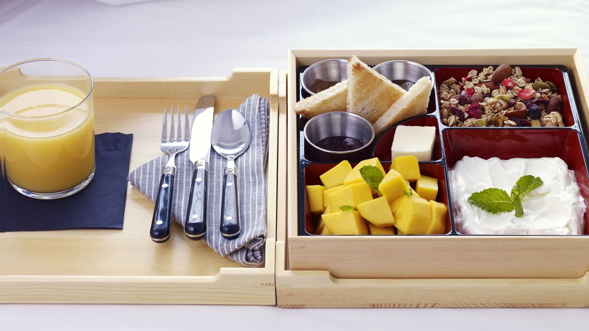 The 24-hour room service fare comes in bento boxes – quirky, and delicious.