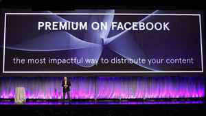 """Facebook Director of Marketing Mike Hoefflinger announces a new """"Premium on Facebook"""" service described as """"the most impactful way to distribute content"""" as he delivers a keynote address at Facebook's """"fMC"""" global event for marketers in New York City, February 29, 2012."""
