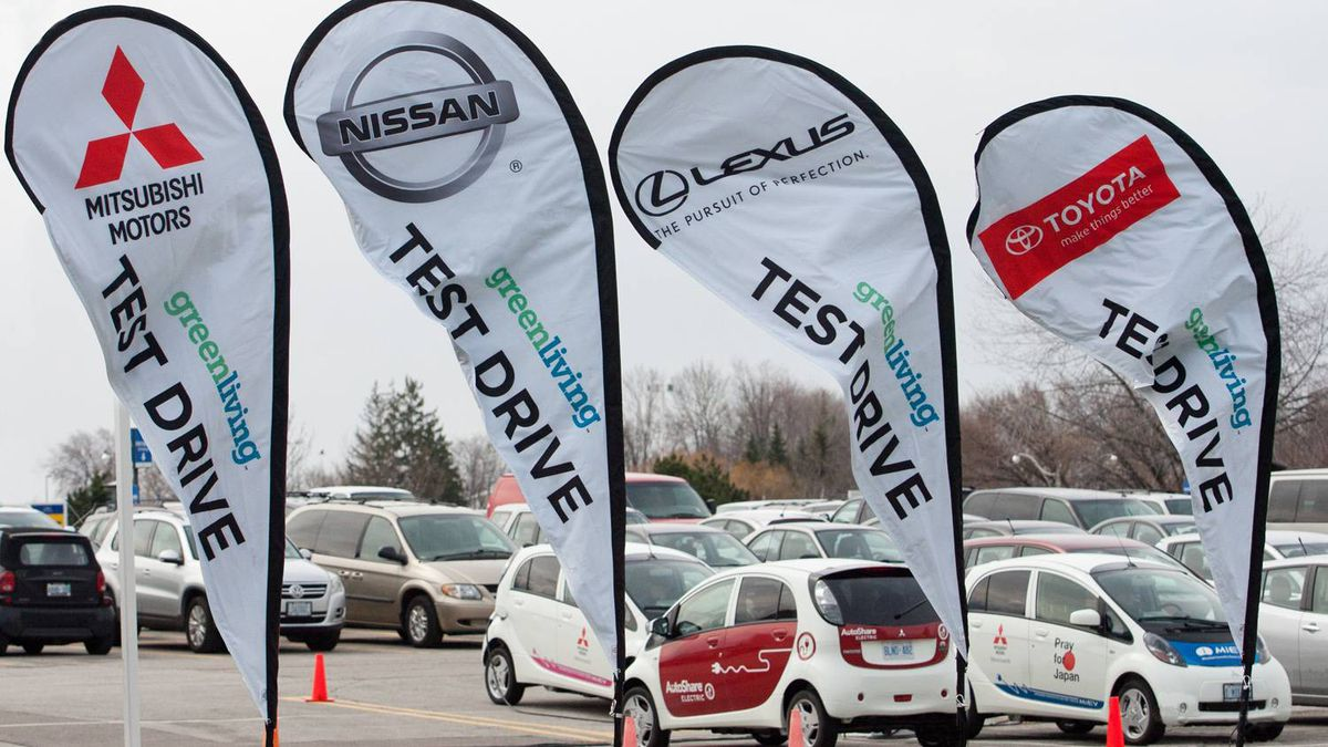 The Mitsubishi i-MiEV, Nissan Leaf, Infiniti M Hybrid and a host of Toyota and Lexus hybrids will be available for test drives just outside the show at the Direct Energy Centre.