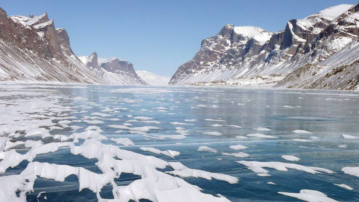 Glacially carved lake valley on Baffin Island.