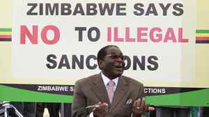 Zimbabwe's President Robert Mugabe at a rally against sanctions in March. REUTERS/Philimon Bulawayo