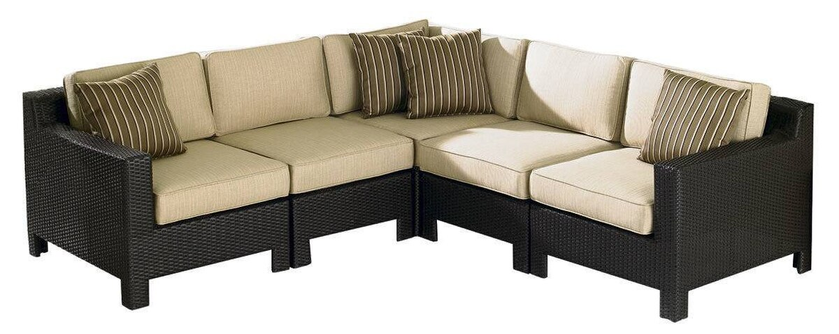 Leisure Design's five-piece Manhattan sectional consists of one left, one right, one corner and two armless units that can be arranged to suit your entertaining needs. It?s available in papaya red, galaxy blue and neutral sand. $2,199.97 at Sears.