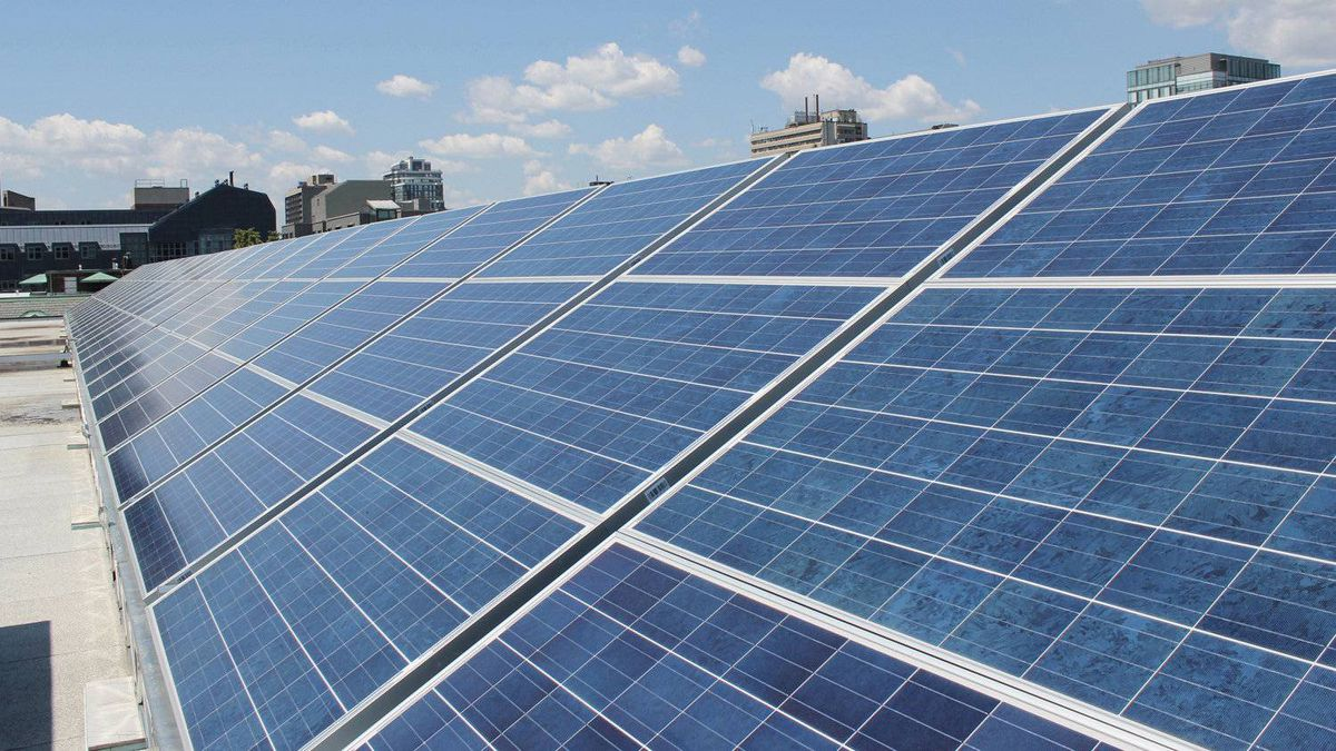 Solar panels are seen on the rooftop of the Larkin Building at the University of Toronto.