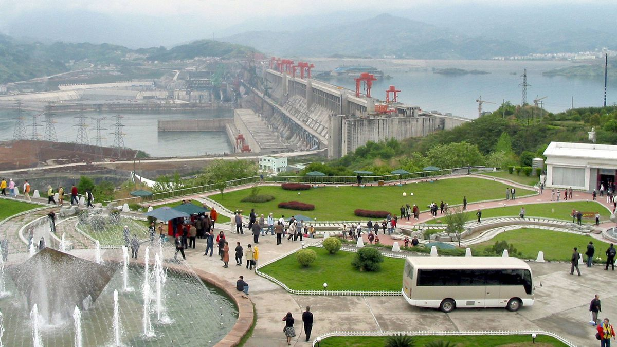 A view of the Three Gorges Dam, which is near completion in Yichang, central China's Hubei province.