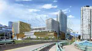 Rendering of BC Place and the proposed entertainment complex to be built on PavCo-owned land adjacent to BC Place.