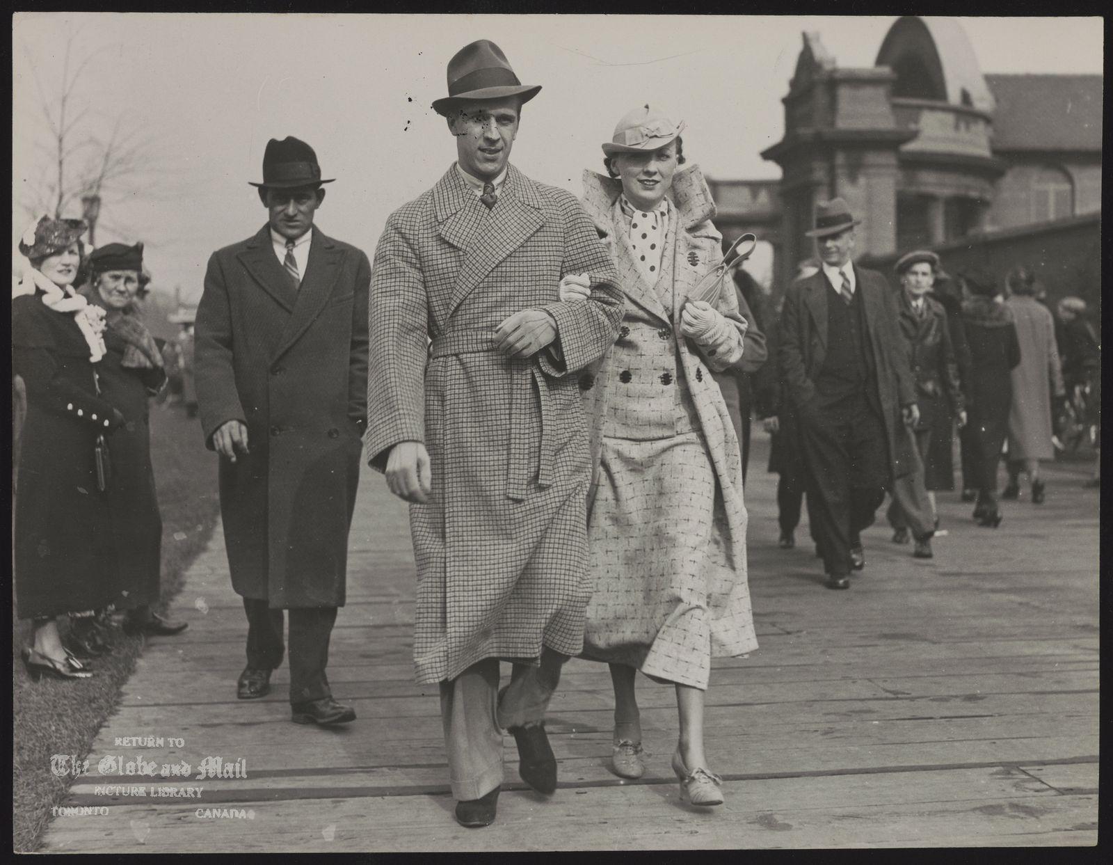 EASTER FASHION PARADE Unidentified couples on Sunnyside Boardwalk 1936.