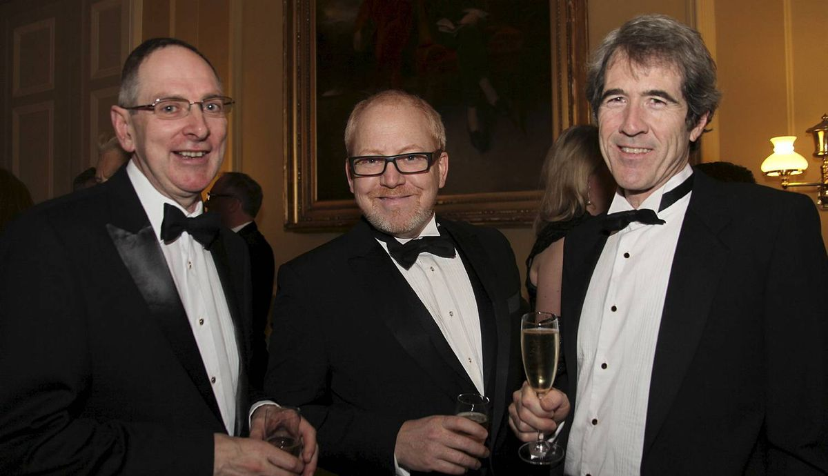 Canada Club Dinner at Travellers Club, Pall Mall, London 21 May 2012. Photographer Amanda Clay. From L to R:- Derek Linfield, Colin Williams, Matthew Spencer Brown