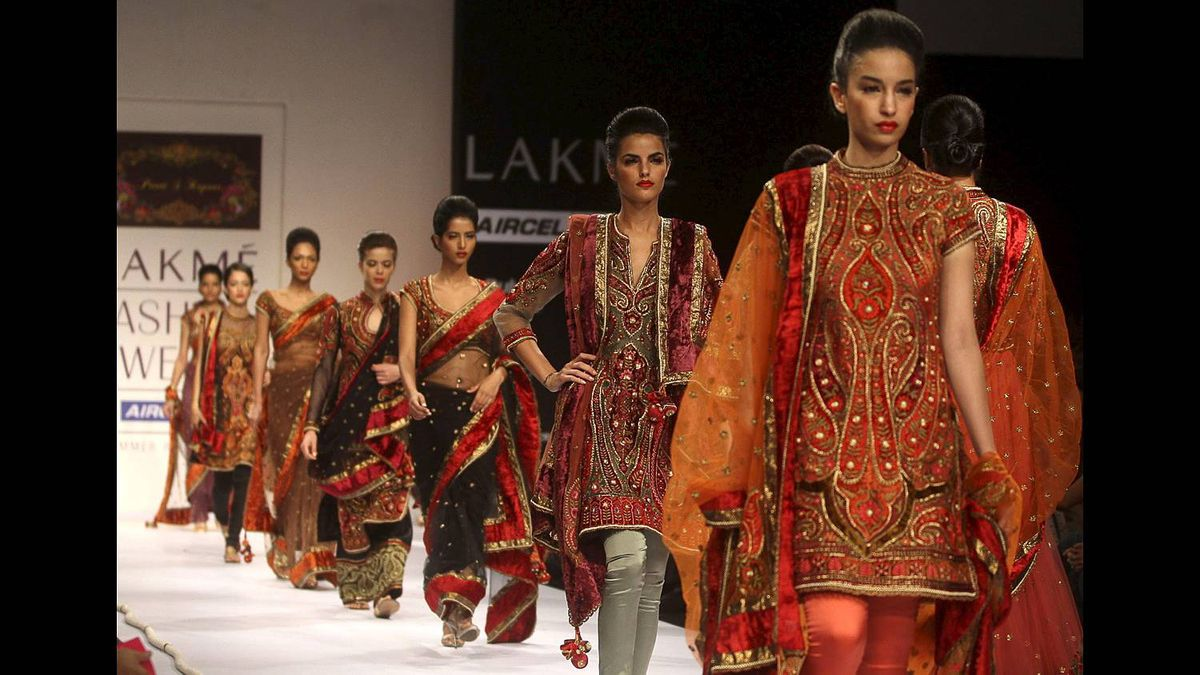 Models display creations by designer Preeti Kapoor during the Lakme Fashion Week in Mumbai, India, Friday, March 11, 2011.