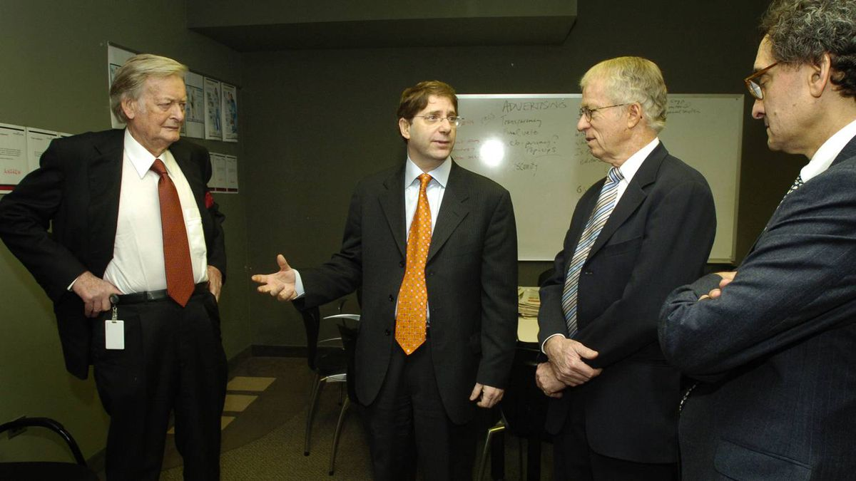 From left, Kenneth Tompson; Edward Greenspon, then editor-in-chief of The Globe and Mail; John Tory Sr;. and BCE CEO Michael Sabia, were photographed at The Globen in December, 2005.
