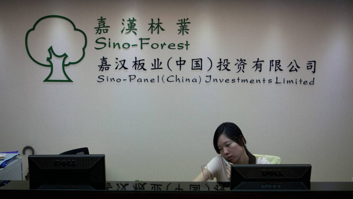Staff are seen at the Sino-Forest and Sino-Panel China headquarters in Guangzhou, Southern China on June 29, 2011.