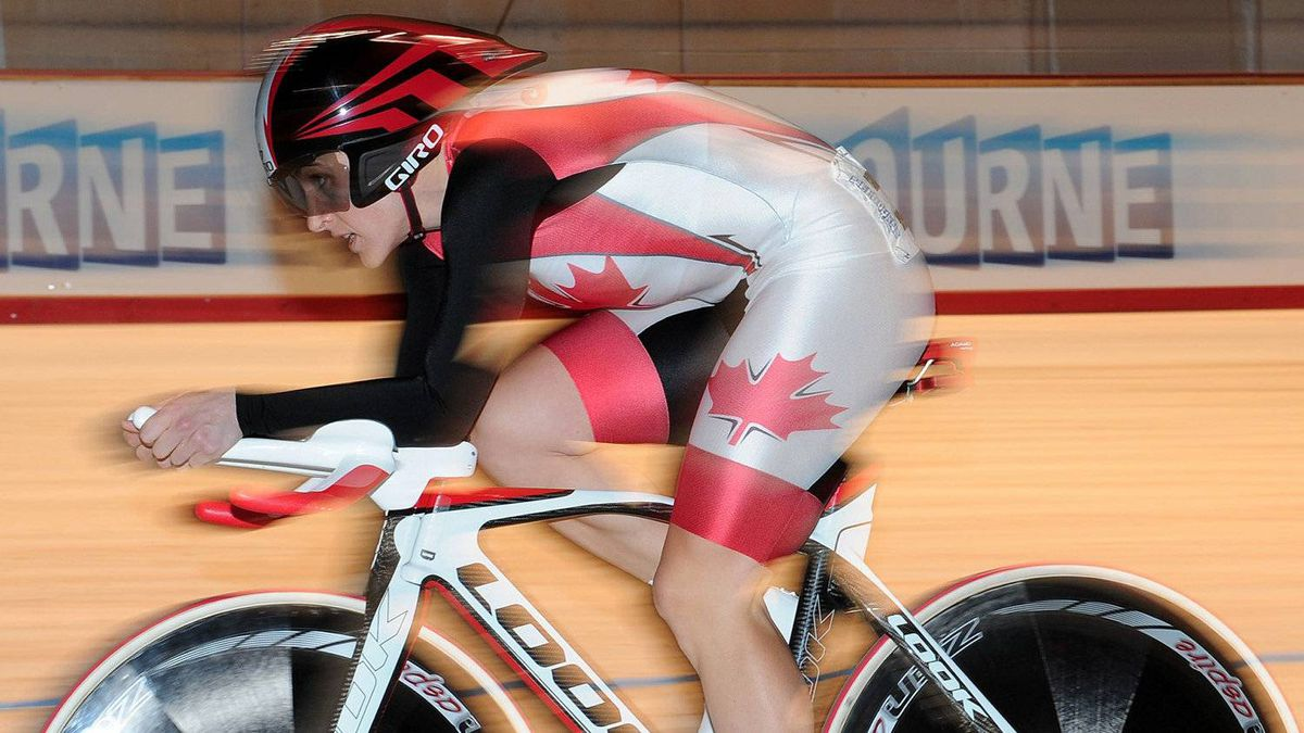 Canada's Tara Whitten races in the individual pursuit event of the women's omnium at the Track Cycling World Championships in Melbourne, Australia, Saturday, April 7, 2012.