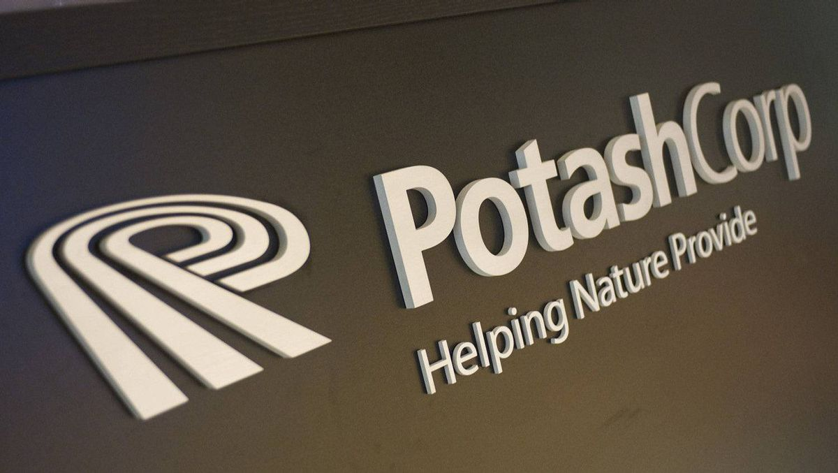 The Potash Corp. logo at the entrance of the company's office tower in downtown Saskatoon.