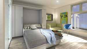 A rendering of the micro-loft's bedroom setup. The bed is concealed in the wall when not in use.