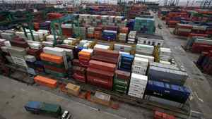 Piles of containers at Waigaoqiao Container Port are seen in Shanghai, China.