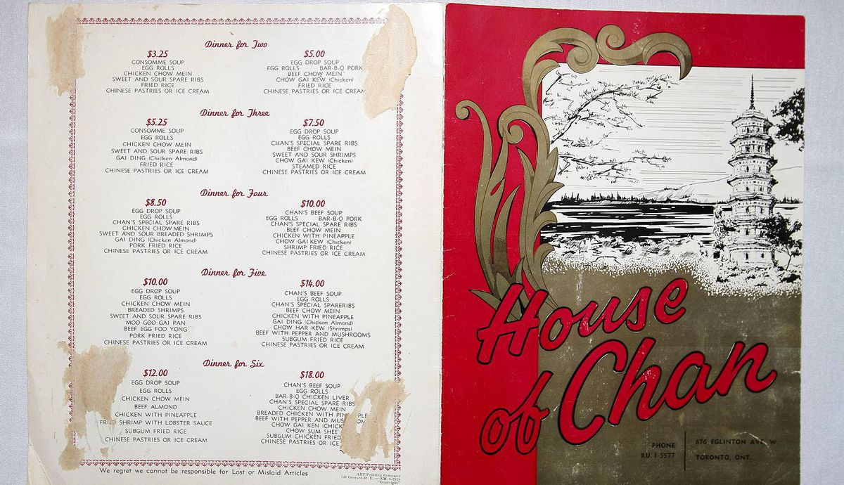 Prix fixe menu from an earlier incarnation of the House of Chan