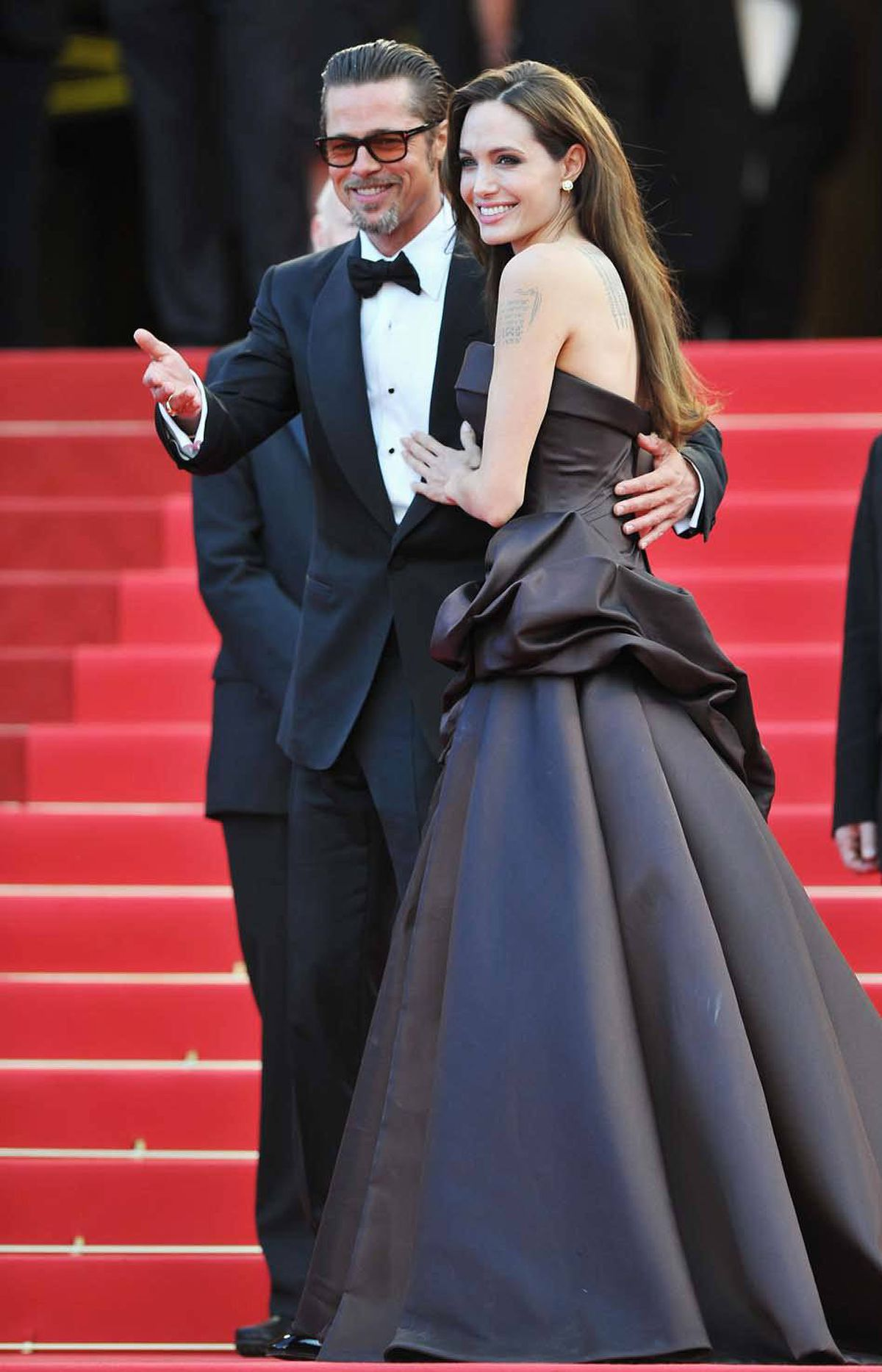 "Angelina Jolie and Brad Pitt attend ""The Tree of Life"" premiere at the Cannes Film Festival on Monday."