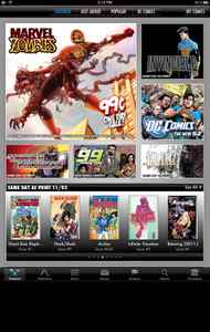 "Comics Comics by comiXology is a free digital comic book reader and bookstore. Browse through thousands of comics from dozens of publishers, tap to buy or download for free. You can read a full page at a time or use ""guided view"" to zoom panel by panel. Note it does not support the cbr, cbz, and rar file formats that are often used to share comics on the internet illegally. (Free to install, in-app comic purchases vary, comixology.com/)"