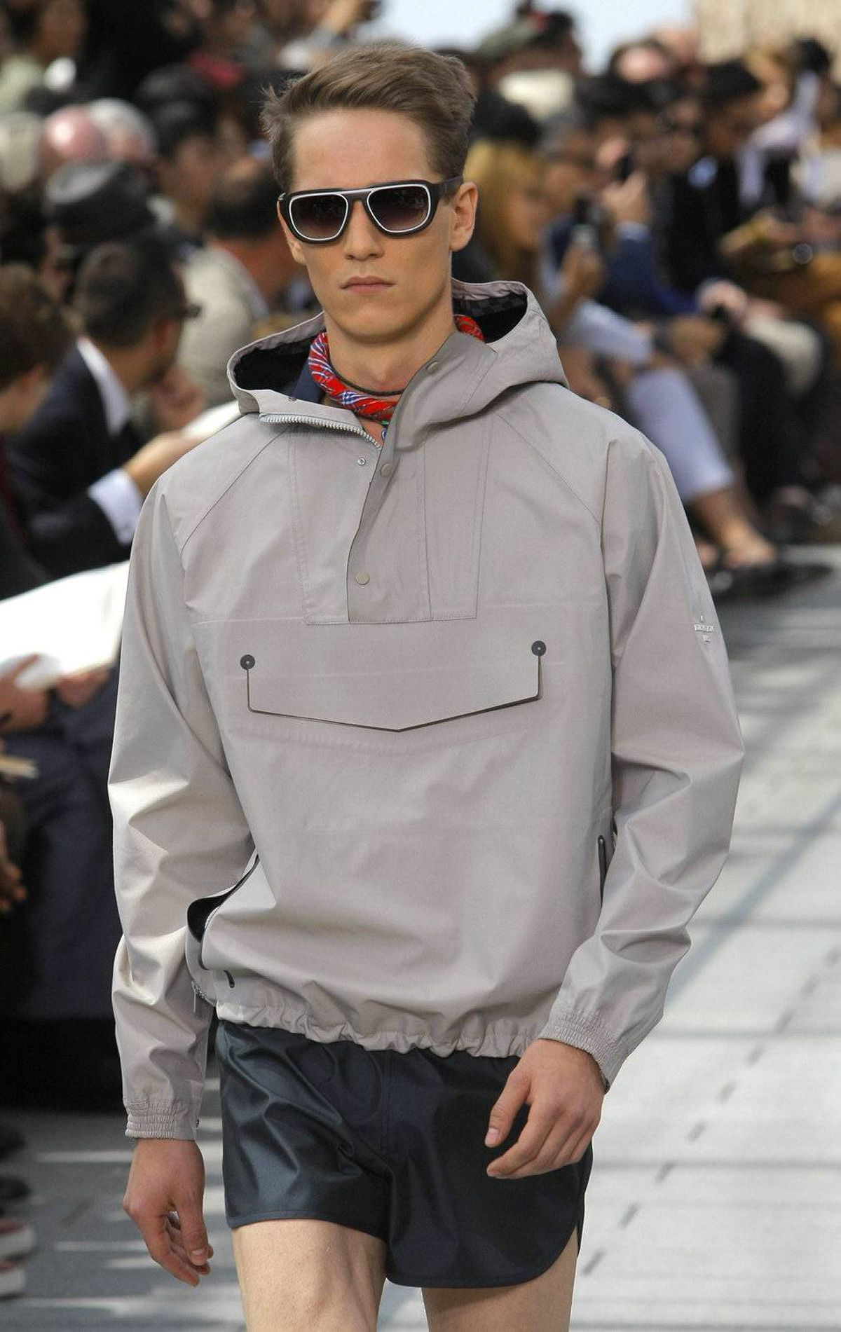 A model wears a creation by British-born designer Kim Jones and U.S designer Marc Jacobs as part of Louis Vuitton's spring-summer 2012 men's collection, presented in Paris, Thursday, June 23, 2011.