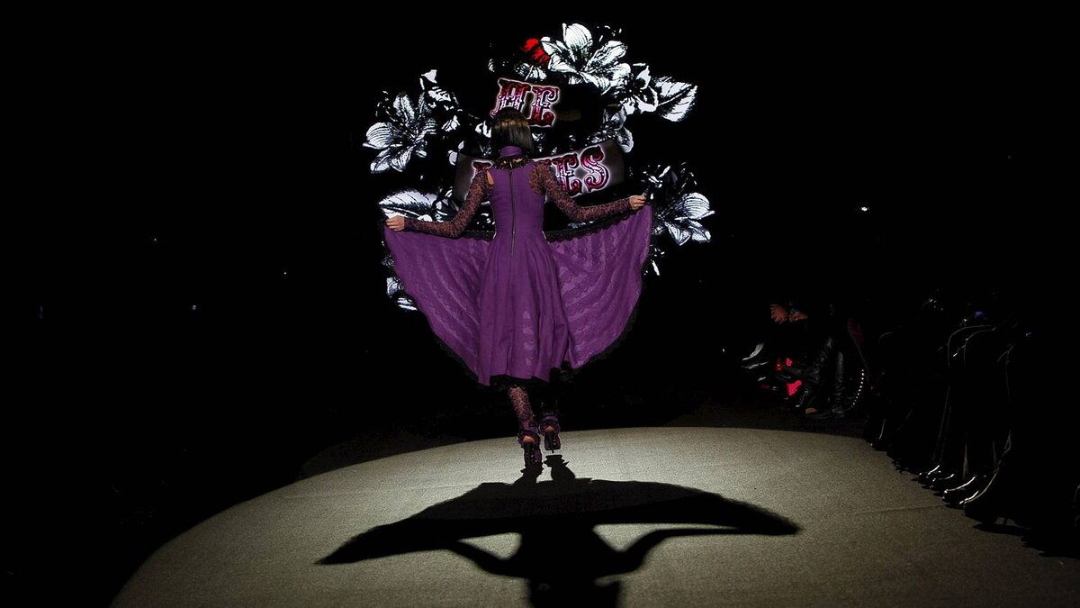 A model presents a creation from the Betsey Johnson Fall/Winter 2011 collection during New York Fashion Week