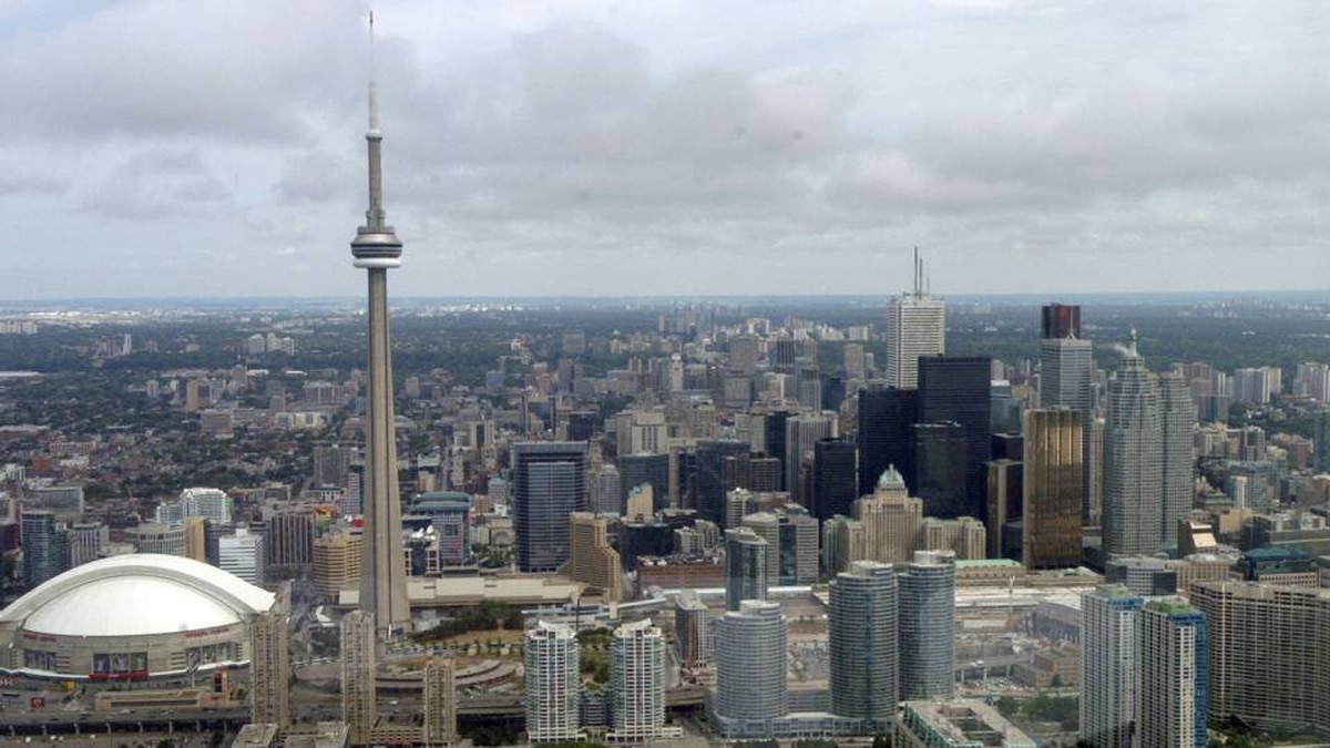 Various file photos of Toronto as seen from the Goodyear Blimp which was flying over Toronto at about the 400 metre height, give or take.
