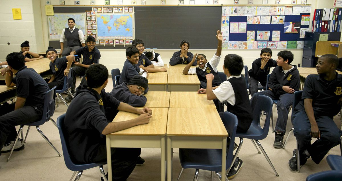 Mr. Dion Singh's grade 8 class participates in a drama exercise at Humberwood Downs Junior-Middle Academy in Etobicoke, Ont. Jan. 17, 2012.