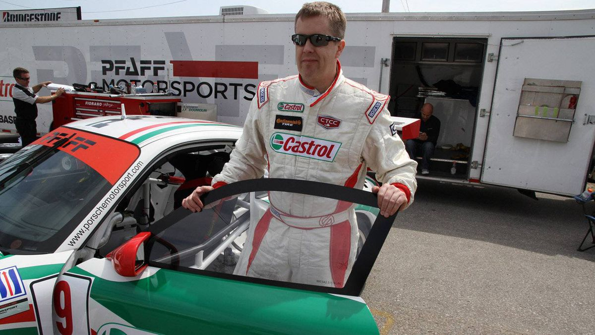 Driver Jeff Pabst with the Pfaff Porsche team car.