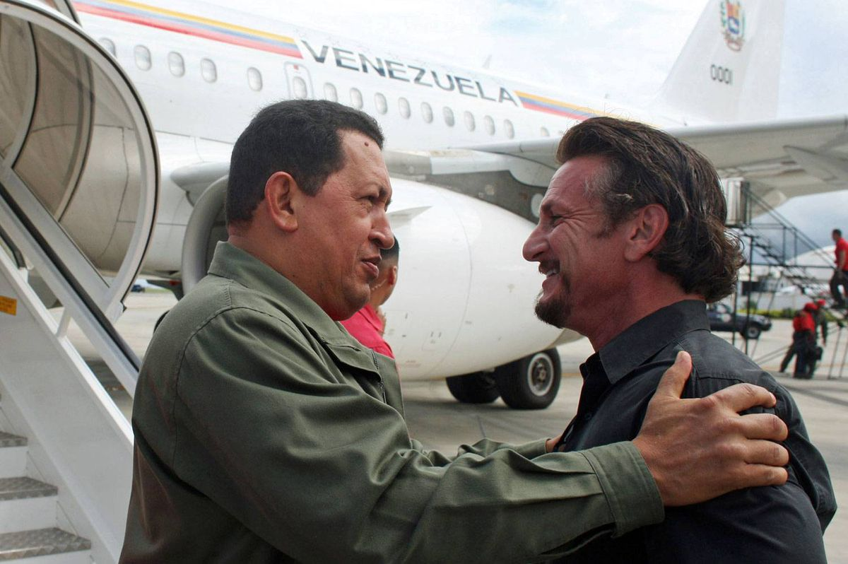 A file photo shows Venezuelan President Hugo Chavez with U.S. actor and director Sean Penn in Cumana, 400 kilometres east of Caracas, Oct. 19, 2008.