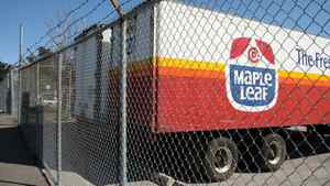 A file photo from August, 2008, shows a parked truck with the logo of Maple Leafs Foods, at the back entrance of the processing plant on Bartor Rd., Toronto. The plant was linked to several deaths from listeriosis.