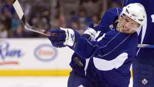 Toronto Maple Leafs defenceman Dion Phaneuf hammers a slap shot during game day morning skate in Toronto on Tuesday.