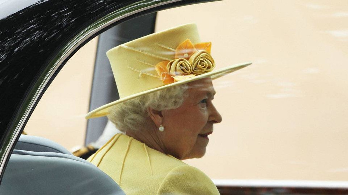 Queen Elizabeth II arrives to attend the Royal Wedding of Prince William to Catherine Middleton at Westminster Abbey on April 29, 2011 in London, England.