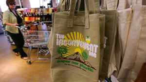 Reusable bags sold at a Whole Foods store