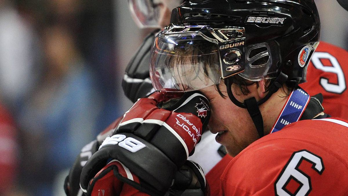 Team Canada captain Ryan Ellis reacts after losing to Team Russia in the IIHF World Junior Championship gold medal final in Buffalo, N.Y. on Wednesday
