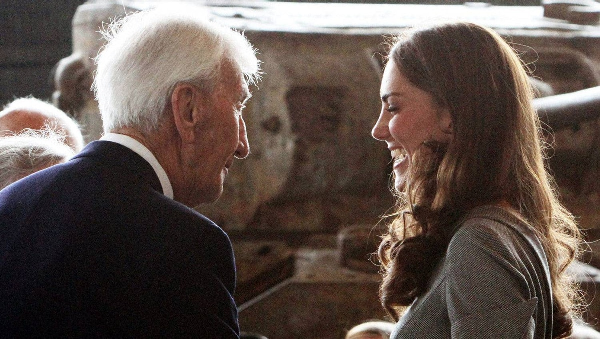 The Duchess of Cambridge chats with a veteran during a reception at the National War Museum in Ottawa on Saturday, July 2, 2011.
