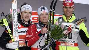 t placed Eirik Brandsdal (C) of Norway, Second placed Teodor Peterson (L) of Sweden and third placed Len Valjas of Canada pose on the podium after winning the Men's 1 km Classic Sprint Final at the FIS Cross-Country World Cup in Stockholm March 14, 2012. REUTERS/Claudio Bresciani