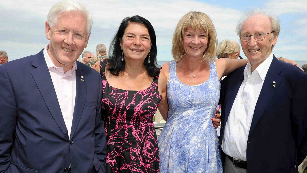 Bob Rae, Arlene Pearly Rae, Shelley Ambrose and Jack Rabinovitch at the Walrus Foundation Garden party, hosted by Matthew and Diane Barrett on June 26.