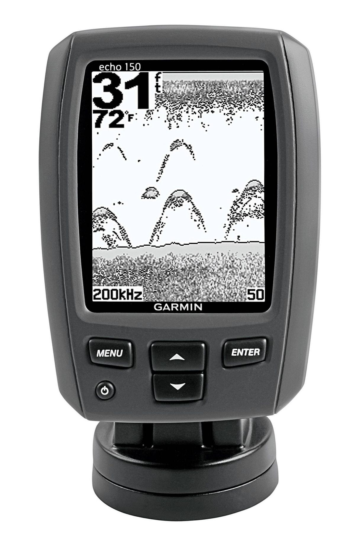 An easier catch Tired of telling tales of the one that got away? Home in on your next catch with Garmin's new echo 150 Fishfinder. The compact dual-beam sonar trolls for trout, pickerel and other freshwater fish in depths of up to 395 metres, displaying the results on an easy-to-read grayscale screen. In shallow water, a viewing range of up to 120 degrees gives you an expanded sightline well beyond the sides of your boat. $99.99 (U.S.), basspro.com