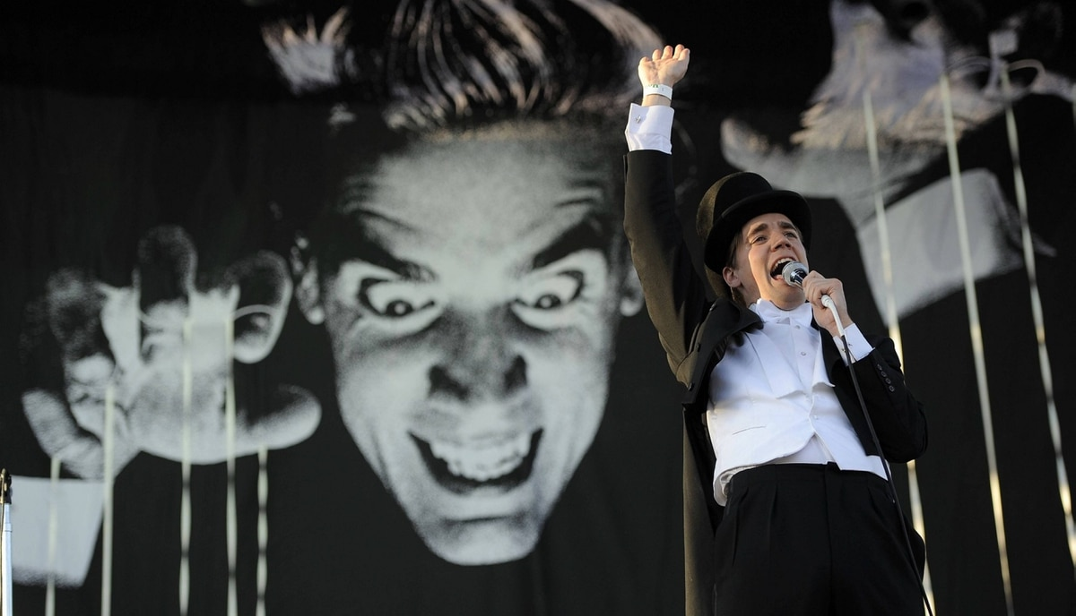 Pelle Almqvist of Swedish band The Hives performs during the first weekend of the 2012 Coachella Valley Music and Arts Festival