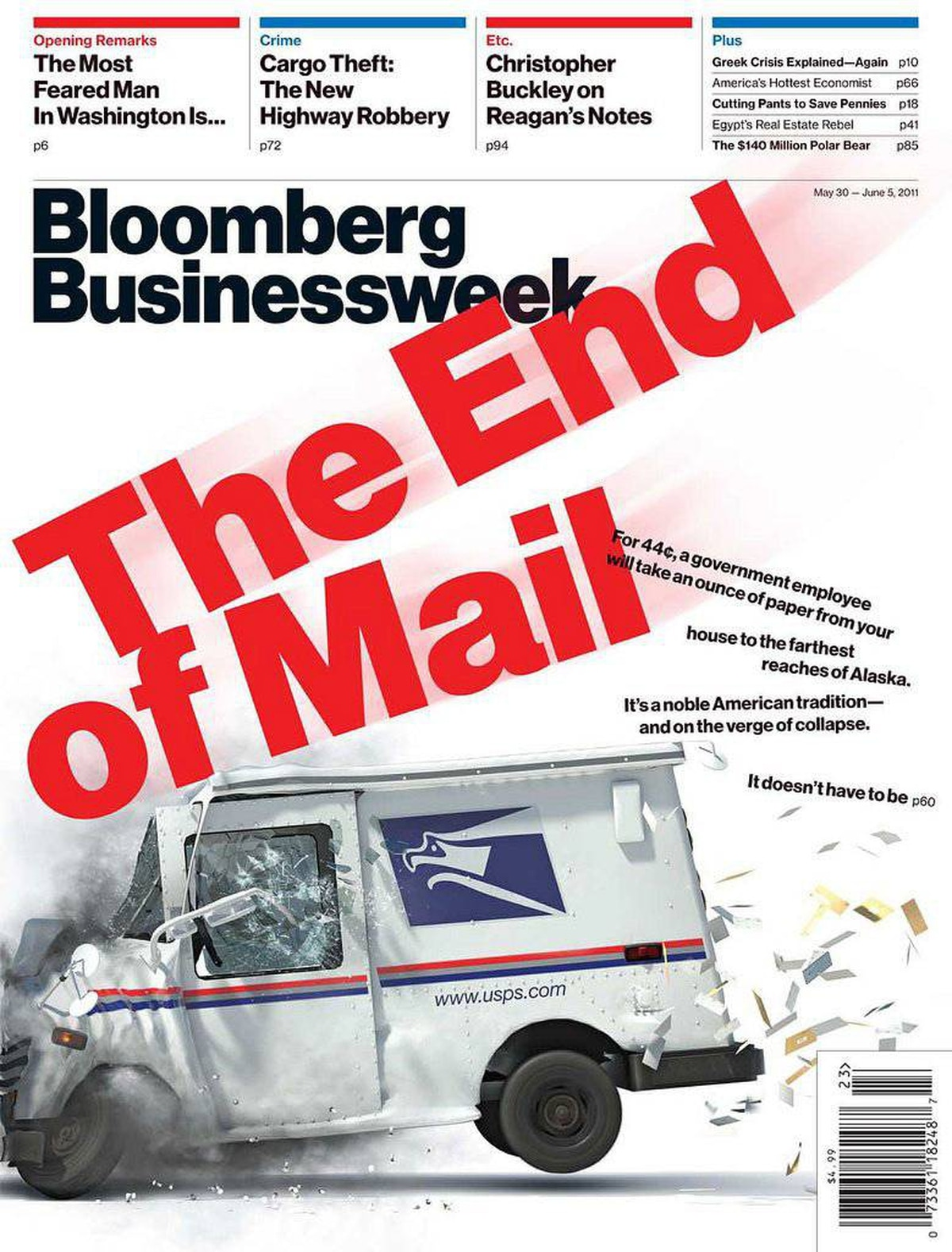 A Bloomberg Businessweek cover depicts a U.S. Mail vehicle slamming into a wall.