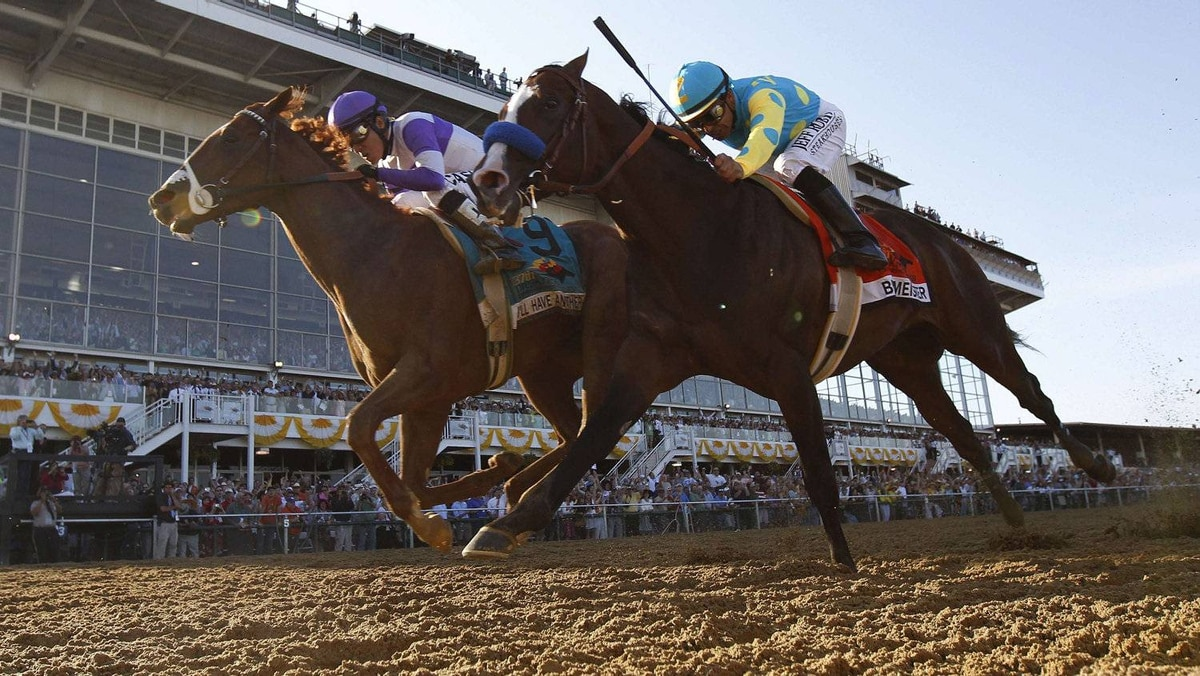 I'll Have Another (L) with jockey Mario Gutierrez aboard passes Bodemeister with jockey Mike E. Smith aboard (2nd from L) at the finish to win the 137th running of the Preakness Stakes at Pimlico Race Course in Baltimore, Maryland, May 19, 2012. REUTERS/Mike Segar