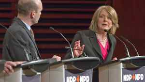 NDP candidates Peggy Nash and Nathan Cullen spar during a leadership debate in Quebec City on Feb. 12, 2012.
