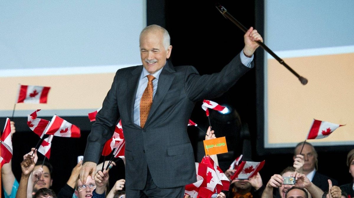 New Democratic Party leader Jack Layton greets supporters at NDP election night headquarters in Toronto May 2, 2011.