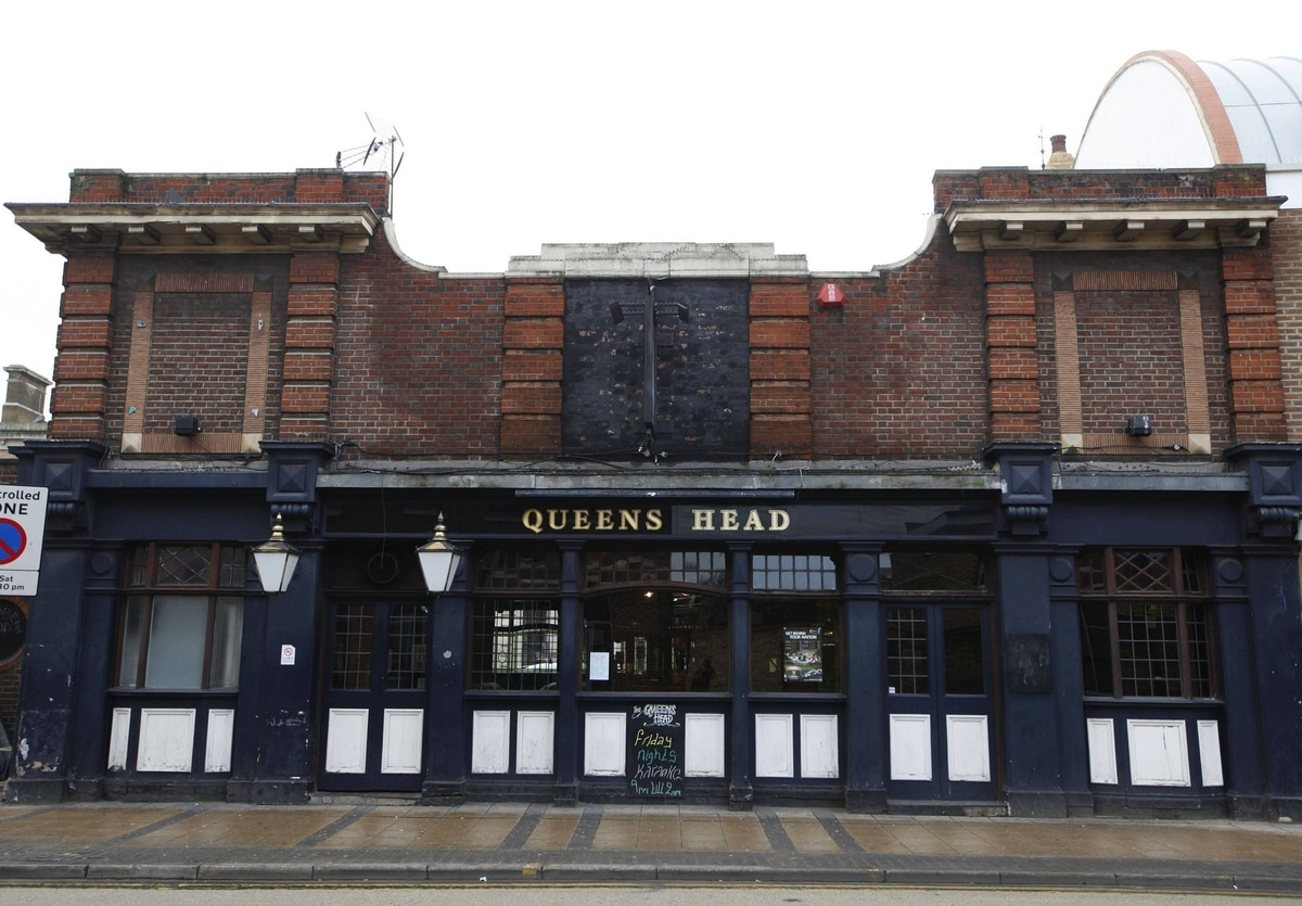 The Queens Head pub is seen in east London. The landlord Billy Sinefield believes a greater opportunity for the pub lies in the possibility of West Ham Football Club taking over the Olympic Stadium after the Games.