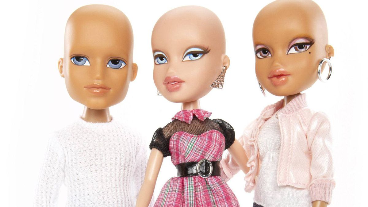 "The new bald Bratz dolls, which will be sold in Toys ""R"" Us stores."