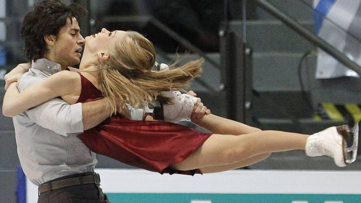 Canada's Kaitlyn Weaver and Andrew Poje skate during the ice dance free skate program at the International Skating Union (ISU) Grand Prix of Figure Skating finals at the Pavillon de la Jeunesse in Quebec City December 11, 2011. REUTERS/Mathieu Belanger